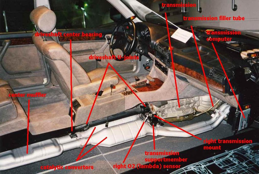 And a beautiful picture of the interior with parts of the transmission, exhaust with cats and driveshaft. BMW E32 750iL