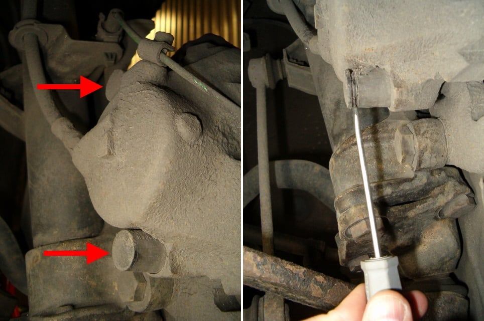 To the left the location of the dust caps for the two guiding bolts have been marked out with red circles. To the right an example of how to remove the dust cap.