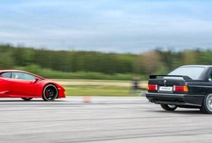 V10 BMW M3 Smokes a Lamborghini Huracan LP580-2 – Drag Race